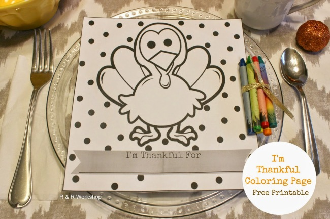 use this I'm thankful coloring page at the place setting for the kids table. I's a free thanksgiving printable.