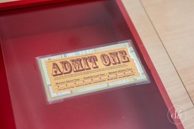 Admit One Ticket Sign - ticket stub memory box
