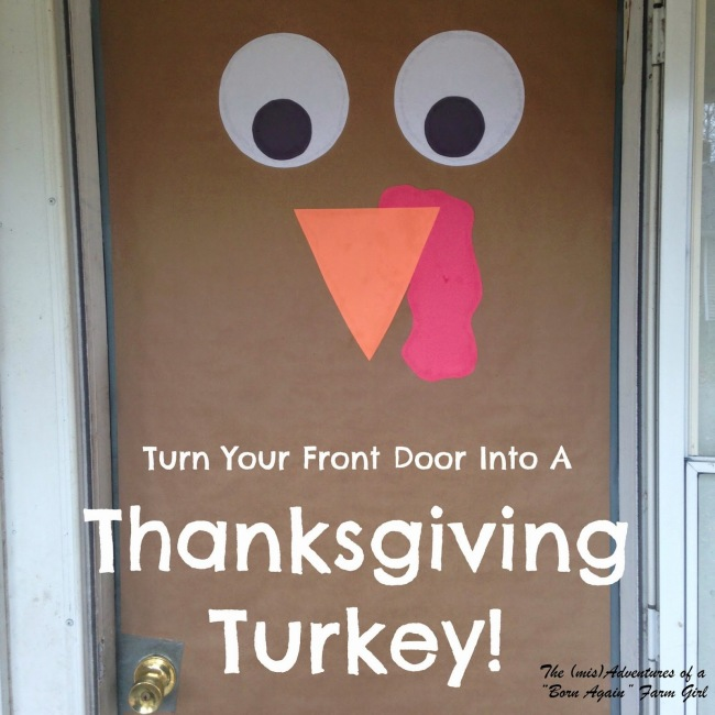 Thanksgiving Turkey Front Door Decor - kids will love how cute this looks on the front of the house. Made of paper and paint.