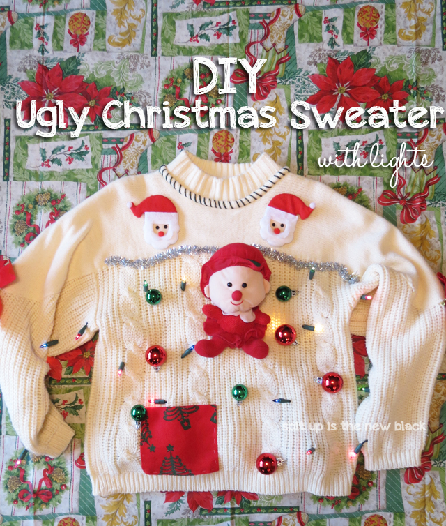 15 do it yourself ugly christmas sweaters oh my creative diy ugly christmas sweater with lights solutioingenieria Gallery