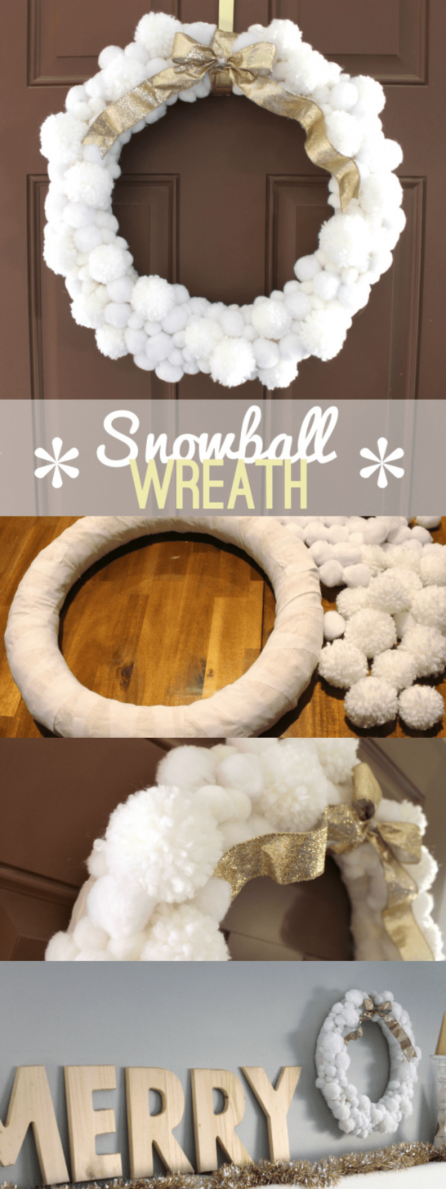 Easy Snowball Pom Pom Wreath - so pretty for the holiday season | Persia Lou for OHMY-CREATIVE.COM