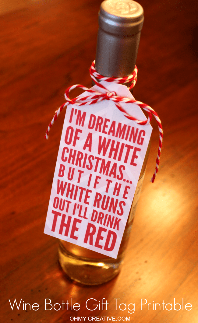 picture about Printable Wine Bottle Tags named Totally free Xmas Wine Bottle Present Tag Printable