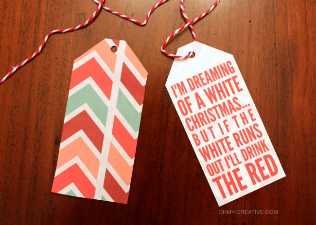 picture regarding Printable Wine Bottle Tags called No cost Xmas Wine Bottle Present Tag Printable