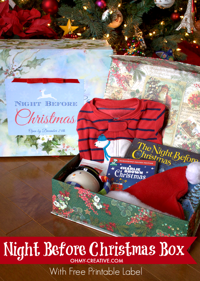 Night Before Christmas Box With Free Printable Label