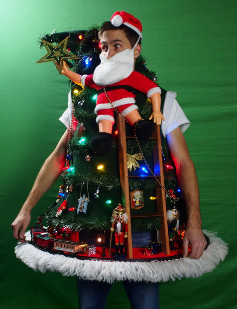 15 do it yourself ugly christmas sweaters oh my creative diy ugly christmas sweater with lights santa climbing the tree ugly sweater solutioingenieria Image collections