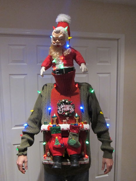 15 do it yourself ugly christmas sweaters oh my creative santa stuck in the chimney ugly christmas sweater solutioingenieria Gallery
