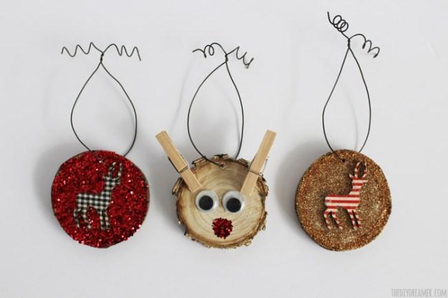 Wood Slice Fabric Ornaments