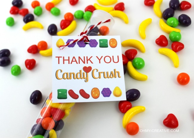 Candy Crush Thank You Party Favor Printable Tag | OHMY-CREATIVE.COM
