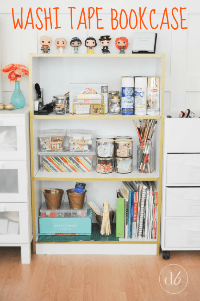 See how to give an old bookcase new style with this Washi Tape Bookcase transformation!