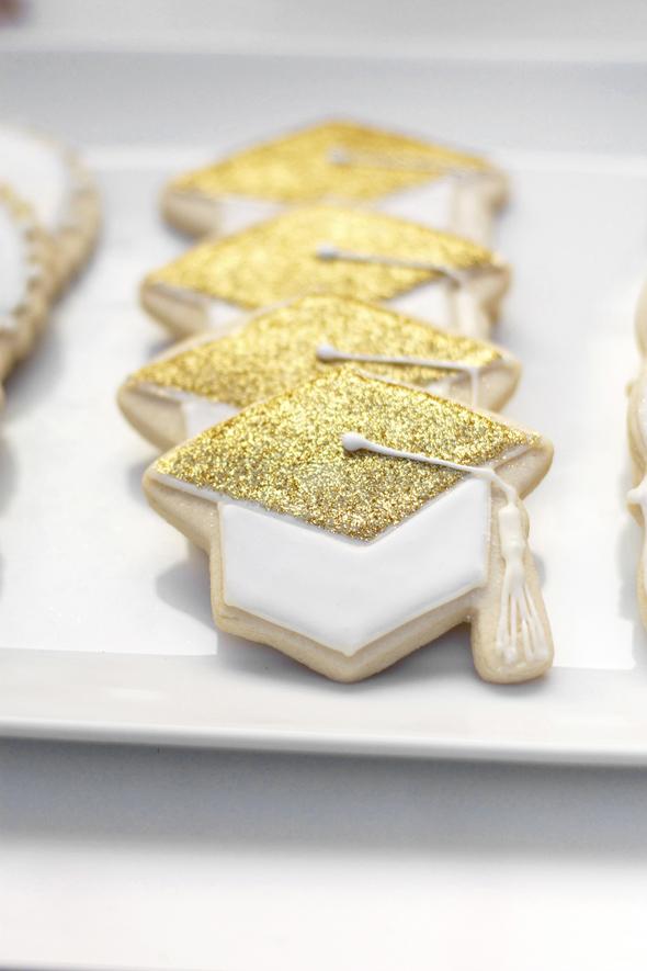 glittery graduation cap cookies