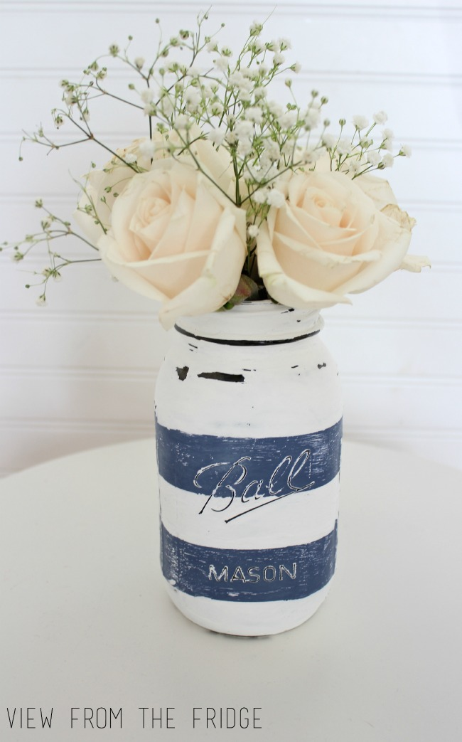 Preppy Distressed Mason Jar Vase Oh My Creative