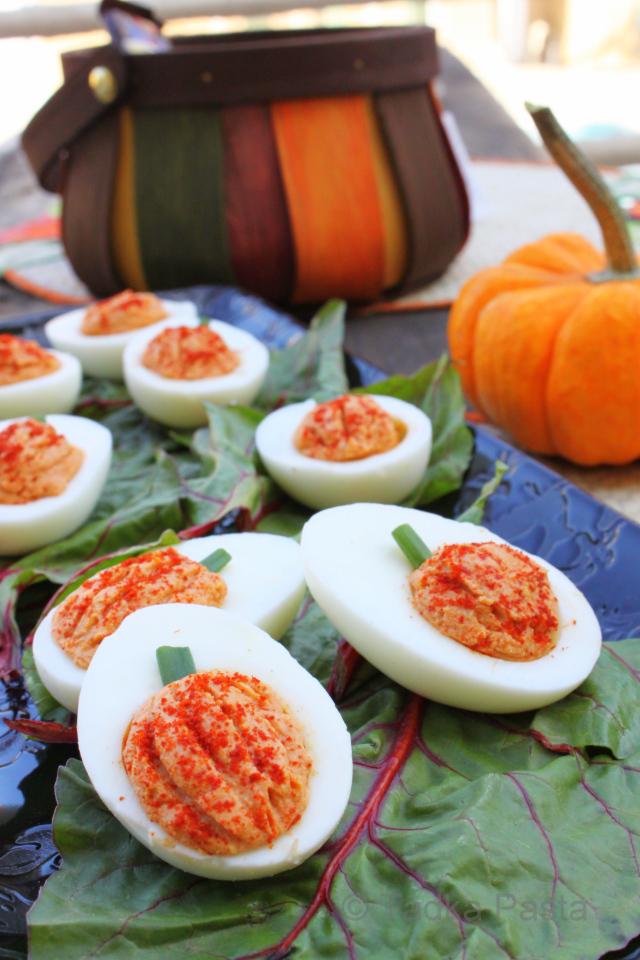 Halloween Pumpkin Deviled Eggs