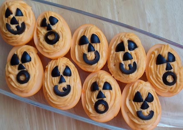 Halloween jack-o-lantern deviled eggs