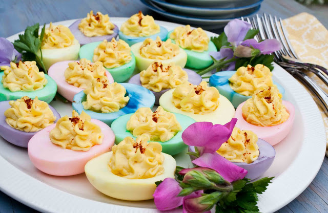 Pastel Dyed Easter Deviled Eggs