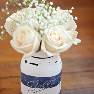 Preppy Distressed Mason Jar Vase