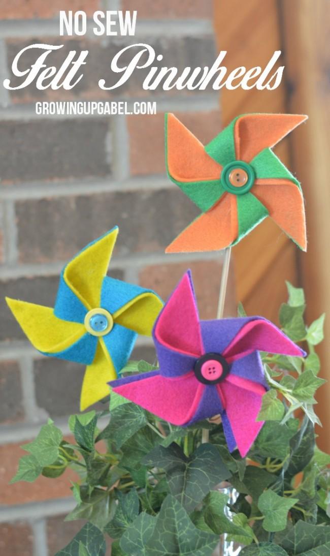 Easy to make DIY no sew Felt Pinwheels