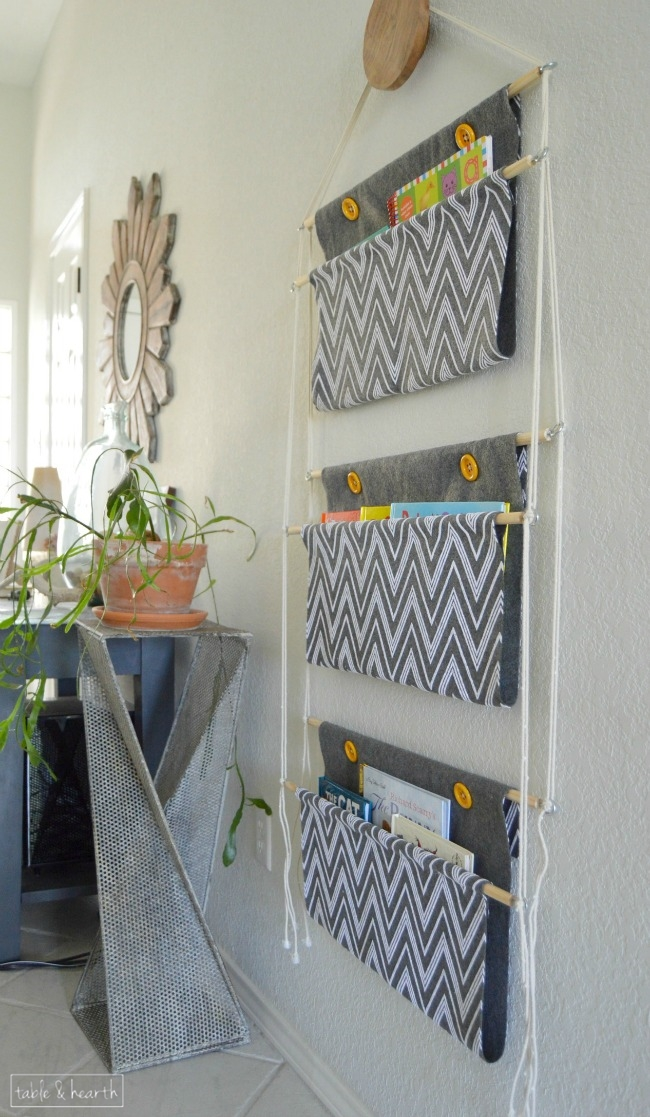 Wall mounted hanging book holder. Great idea to organize children's books!  |  OHMY-CREATIVE.COM