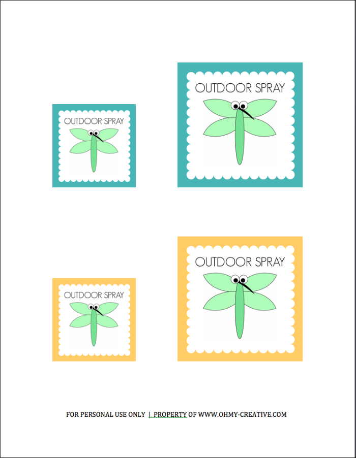 Free Printable Outdoor Spray Label for Chemical Free Outdoor Spray  |  OHMY-CREATIVE.COM