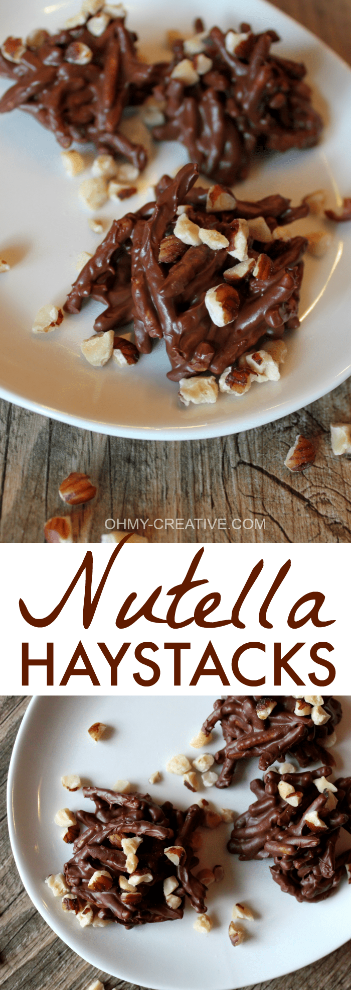 If you are a fan of Nutella these no bake Nutella Haystacks are so yummy and very simple to make. They never last long in our house! | OHMY-CREATIVE.COM