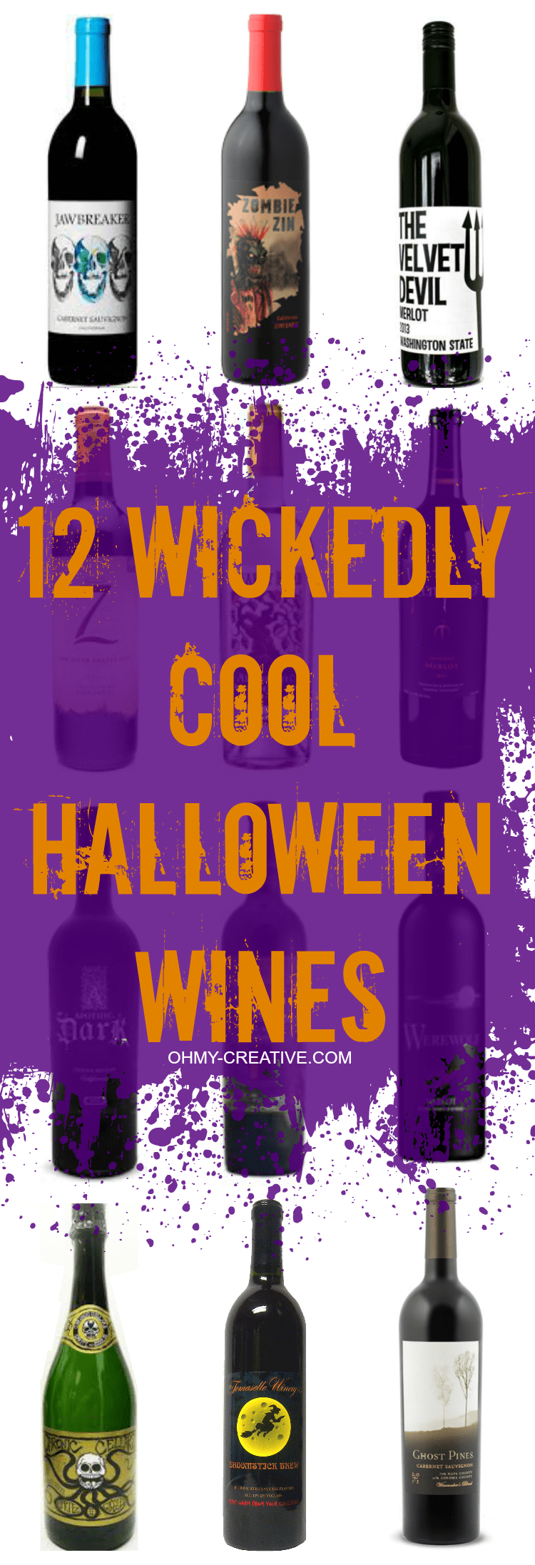 12 Wickedly Cool Halloween Wines for hosting the ultimate party or bring as a hostess gift! Frightfully fun for any Halloween Party! | OHMY-CREATIVE.COM