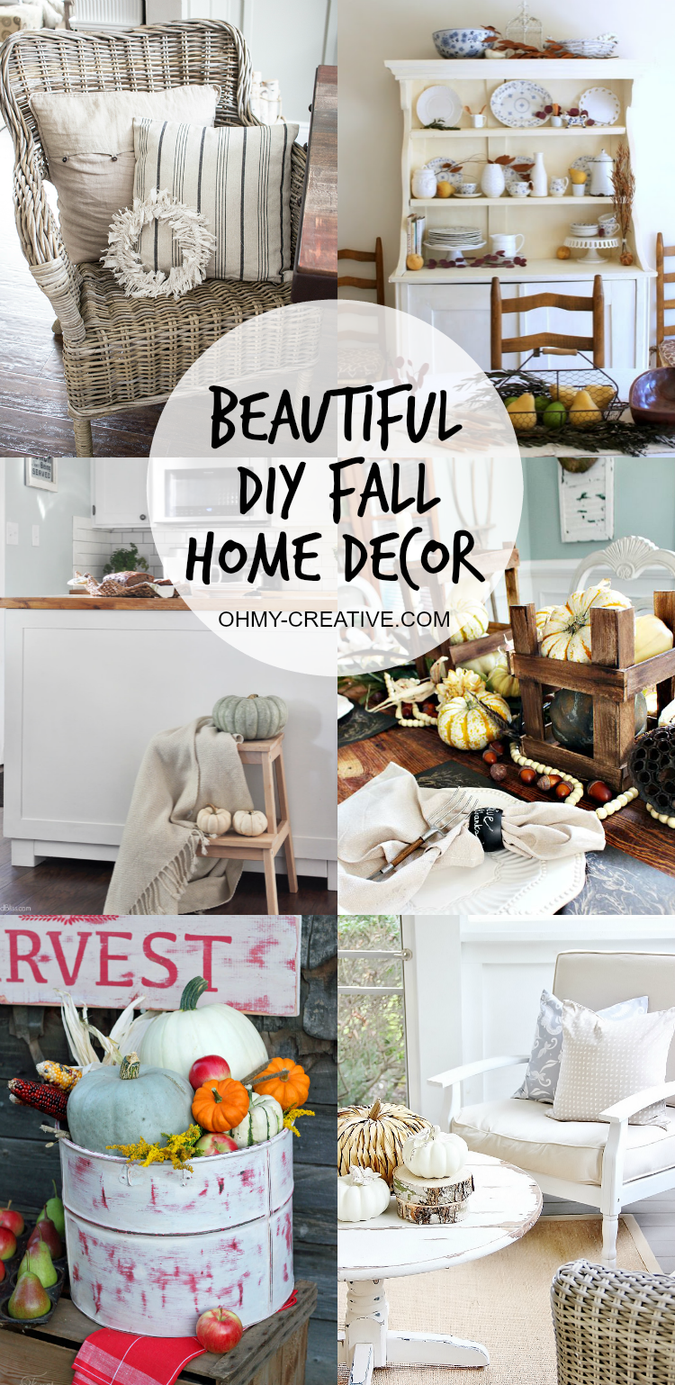 Decorating is easier than you think. With these Beautiful Do It Yourself Fall Home Decor ideas and a few simple items, you can create lovely Fall spaces in your home!  |  OHMY-CREATIVE.COM