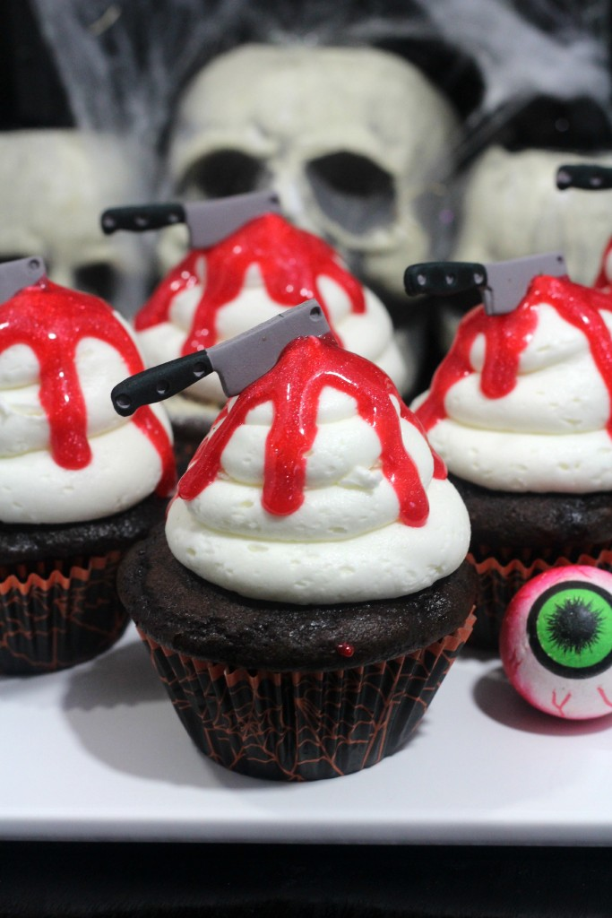 Bloody knife cupcakes