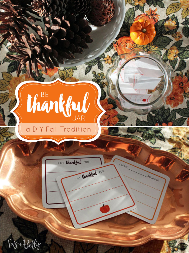 Looking for the perfect fall activity to share with your kids or start a new Thanksgiving Tradition? Practice being thankful for one another with this quick DIY Be Thankful Jar Printable Cards! Includes Free Printable Thankful Cards! | OHMY-CREATIVE.COM
