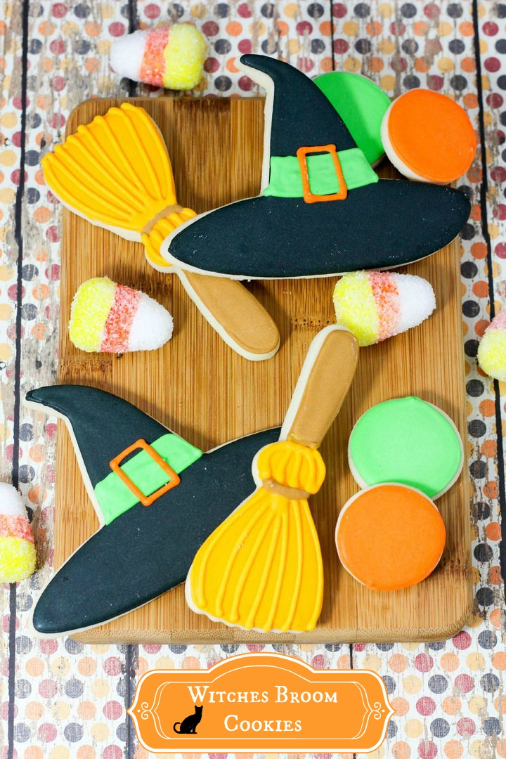 Witch and broom stick Halloween Sugar Cookies