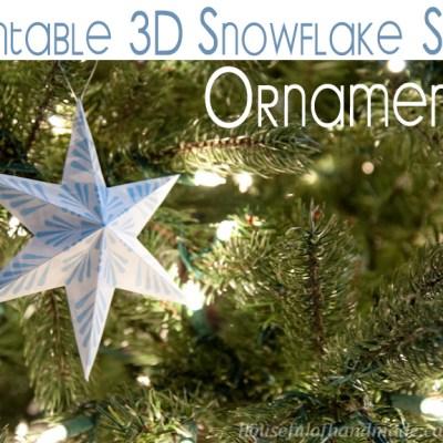 Printable 3D Snowflake Star Ornaments