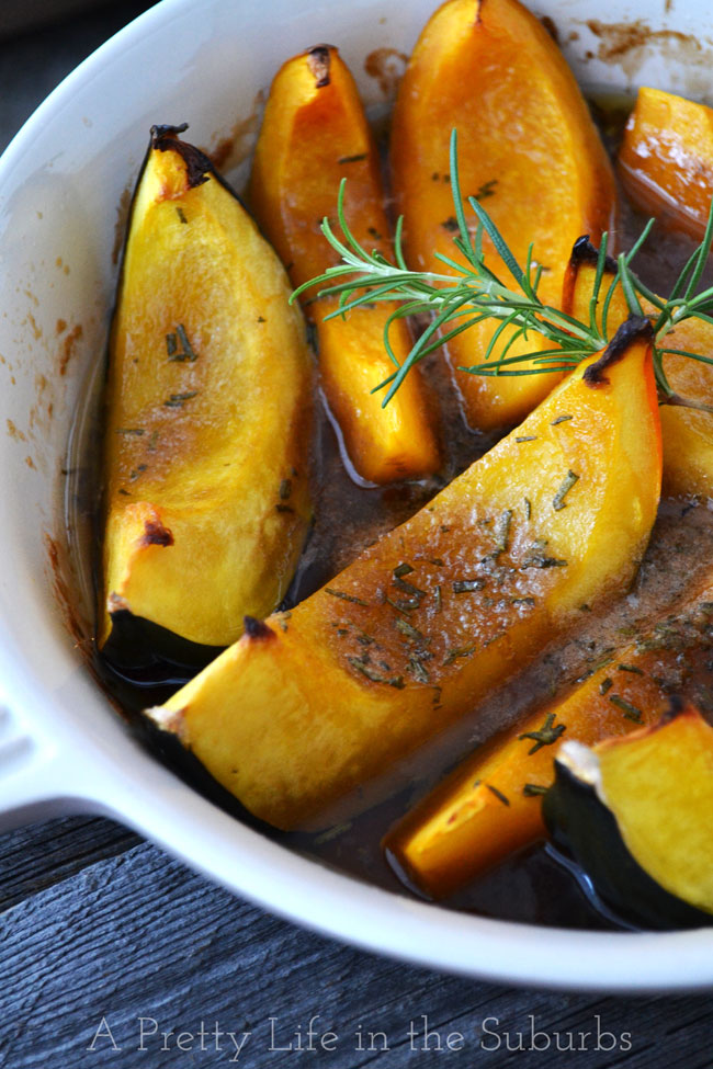 Roasted Brown Sugar & Rosemary Squash Wedges