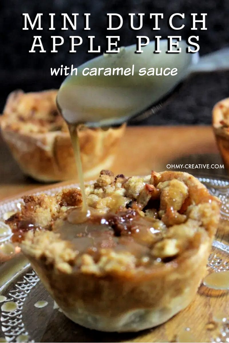 Mini dutch apple pies with a spoonful of homemade caramel sauce dripping on top.