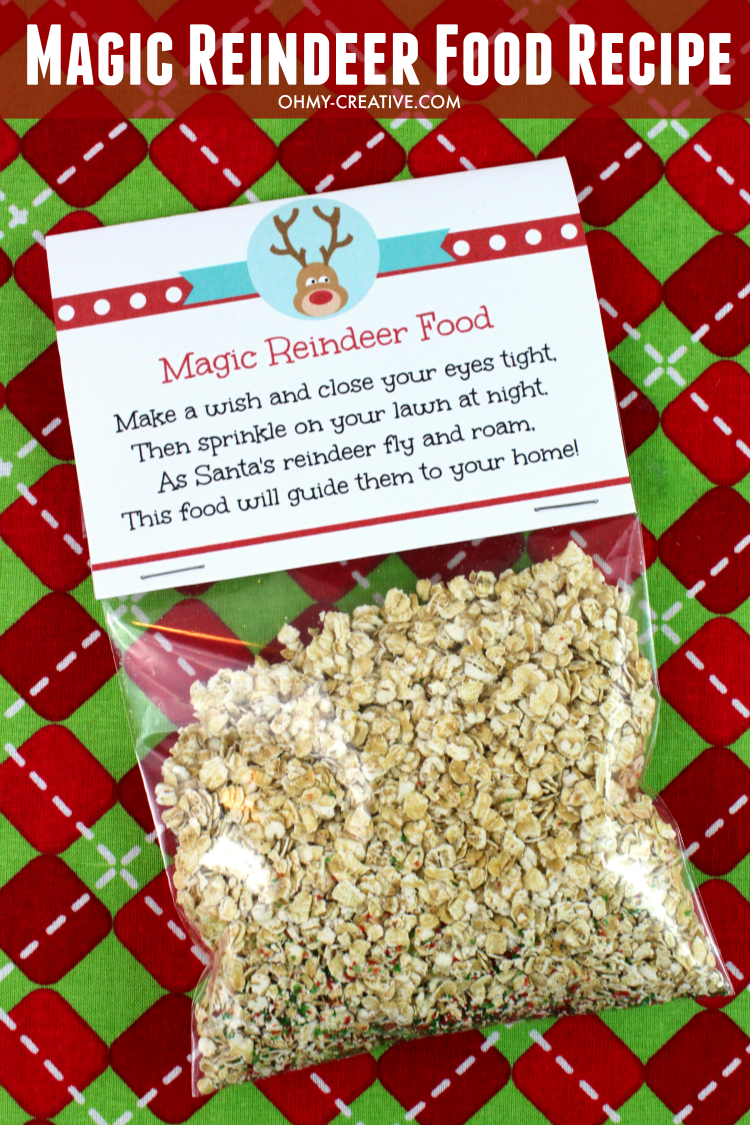 Magic reindeer food is a fun and festive family Christmas tradition. Reindeer food is easy to make and looks so cute with printable reindeer food labels featuring a reindeer poem with instructions.