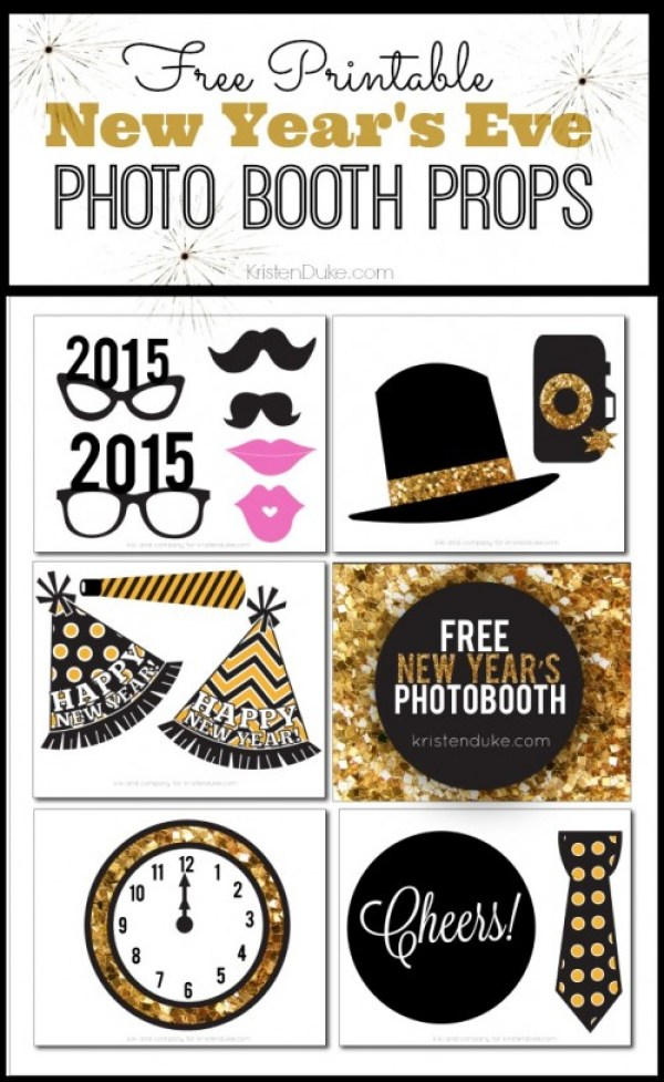 new years eve photo booth printables