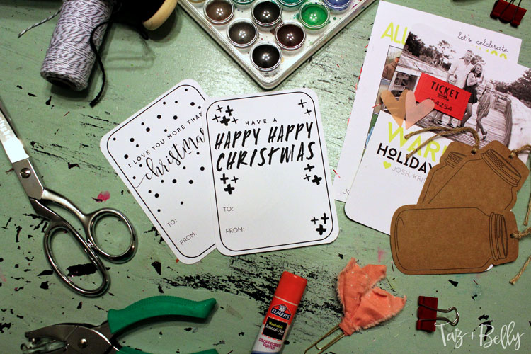 These free printable gift tags are a blank slate. Use watercolors, glitter and sparkly ribbon to add glitz and glimmer to every christmas package.   OHMY-CREATIVE.COM