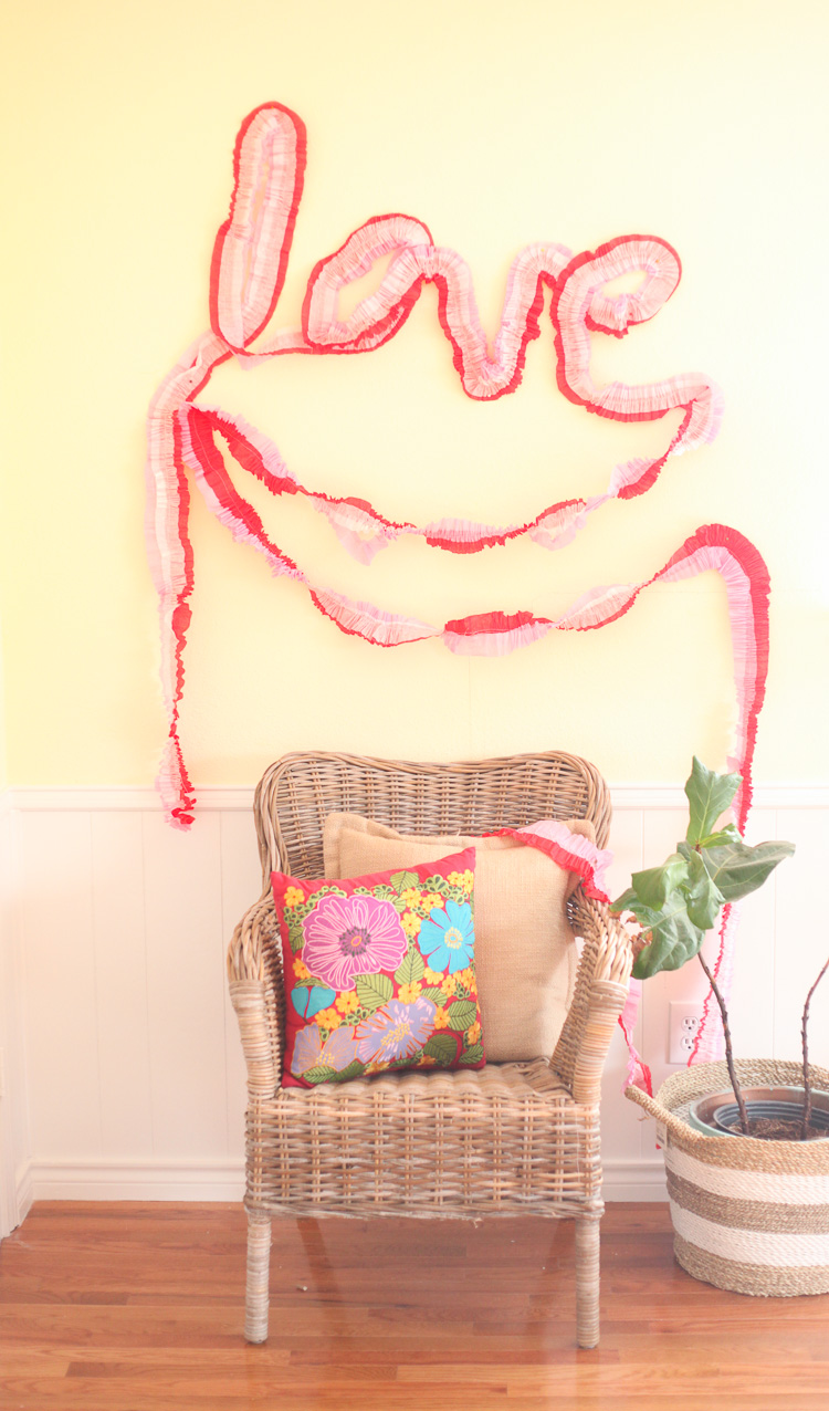 Valentine's Day Crepe Paper Love Garland
