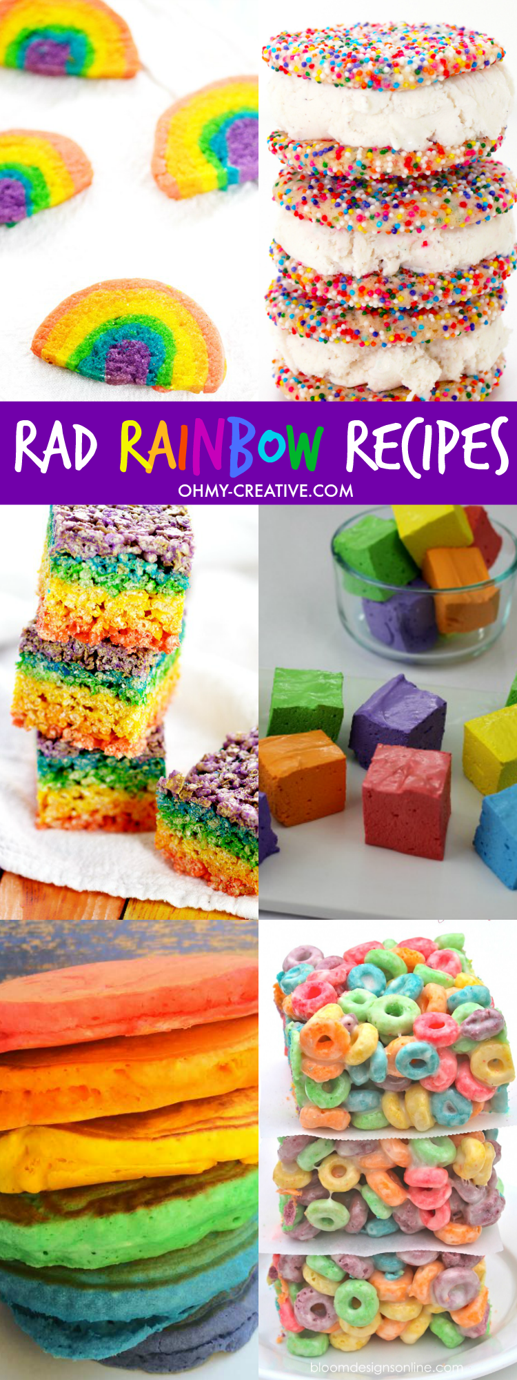 How to make rainbow food with these Rad Rainbow Recipes! Fun for Rainbow Party Themes or St. Patrick's Day | OHMY-CREATIVE.COM