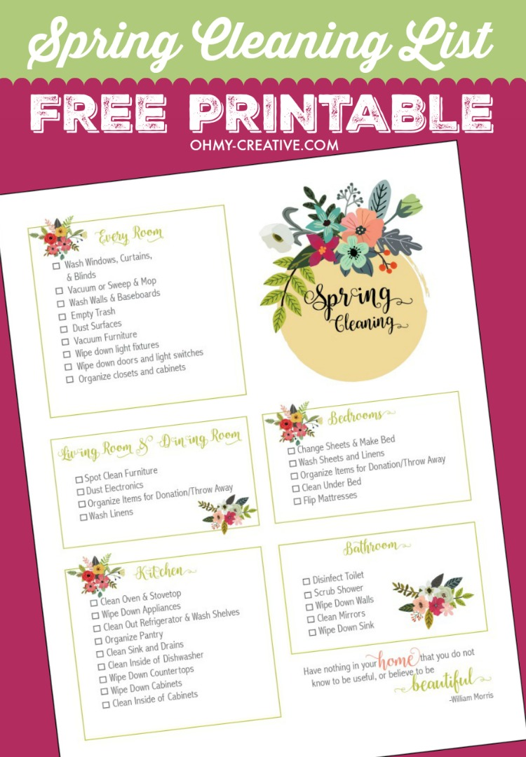 Spring Cleaning Checklist Free Printable