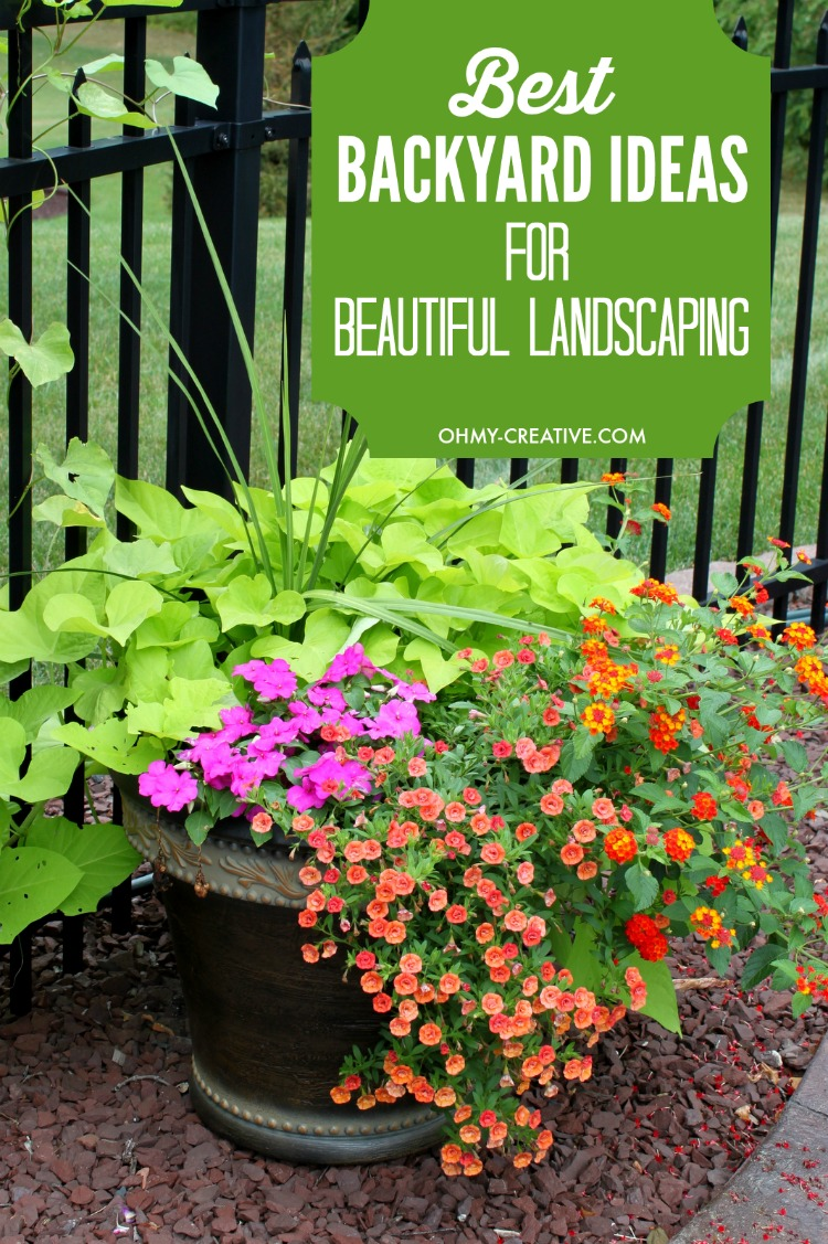 Creative yard projects like cinderblock planters, stone pathways, recyled tires or beautiful flower pots and urns can create are the Best Backyard Ideas for Creating Beautiful Landscaping! | OHMY-CREATIVE.COM