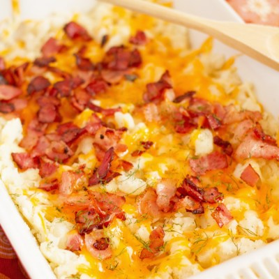 Cheesy Bacon Mashed Potato Casserole