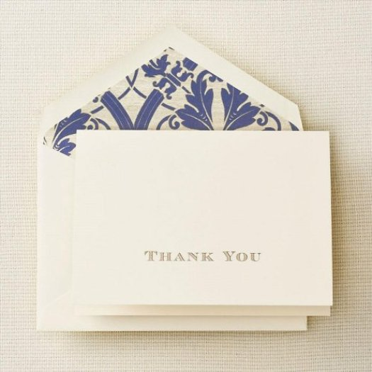 Crane & Co. Gold Hand Engraved Regency Thank You Note - Senior Graduation Gifts for Her | OHMY-CREATIVE.COM