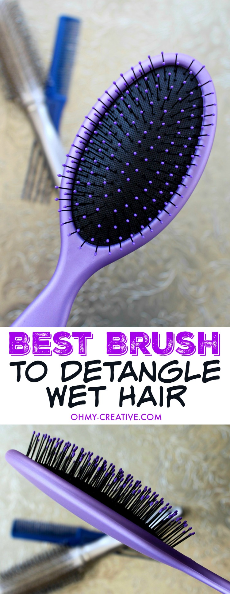 How To Detangle Hair? Don't endure another minute of cringe worthy hair tugging and pulling through knotted tangled hair! I found the Best Hair Brush to Detangle Hair when wet! Glides through wet hair with little effort - I love it! | OHMY-CREATIVE.COM
