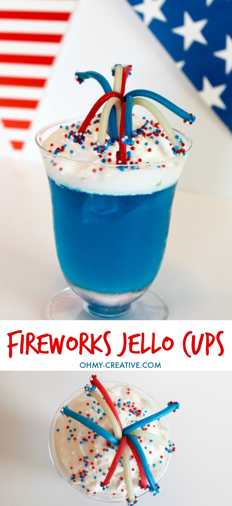 Sparklers and fireworks are a big part of any Fourth of July or any Patriotic Celebration! Try these 4th of July Dessert Fireworks Jello Cups for your picnics and parties - a fun easy patriotic treat! | OHMY-CREATIVE.COM