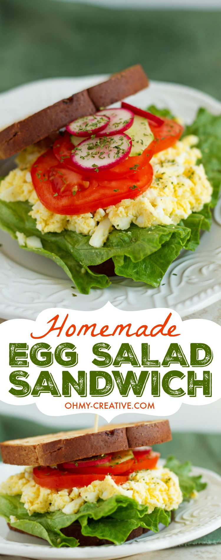 This Homemade Egg Salad Sandwich Recipe is a light and delicious egg sandwich. Top with your favorite veggies like cucumber, tomato and lettuce. A quick and delicious lunch. OHMY-CREATIVE.COM #eggsalad #eggsaladrecip #eggsaladlettuce #eggsaladsandwich