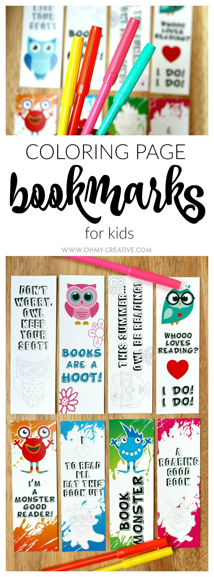 image about Free Printable Bookmarks for Kids known as Printable Bookmark Coloring Internet pages for Young children - Oh My Innovative