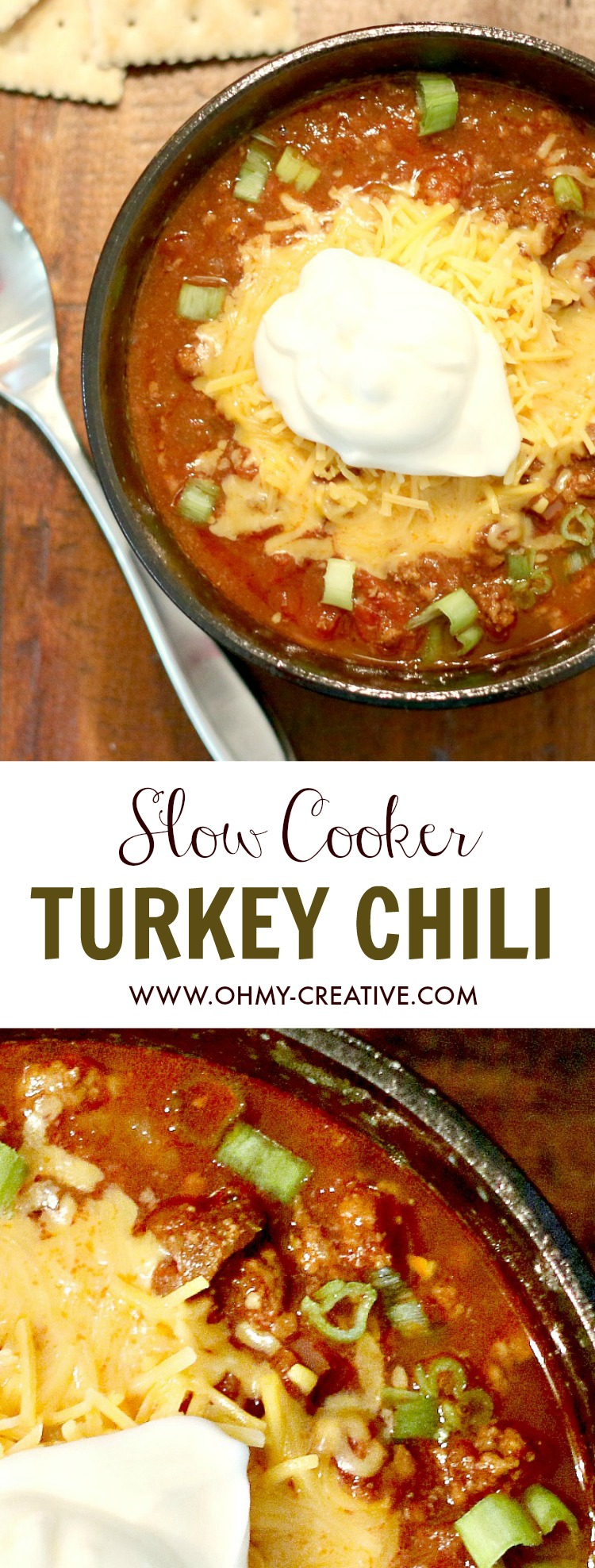This Slow Cooker Turkey Chili Recipe is made with simple ingredients and bursting with flavor! A perfect quick and delicious meal the family with love. If you love crock pot recipes try this Turkey Chili for dinner or to serve on game day! | Popular recipes by OHMY-CREATIVE.COM