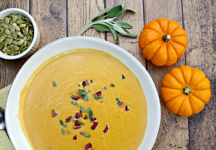 Savory Paleo Pumpkin Soup - 25 Thanksgiving Side Dishes to complete your Thanksgiving dinner! Including Thanksgiving vegetable side dish recipes, traditional Thanksgiving recipes as well as new recipes to try! | OHMY-CREATIVE.COM