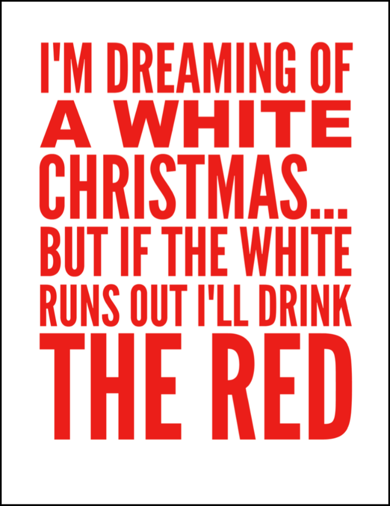 This I'm Dreaming of a White Christmas... But if the White Runs Out I'll Drink the Red Wine Sign Printable is perfect for all that love wine. A great Christmas gift or decoration on the bar for a Christmas party! Such a fun Christmas Quote!   OHMY-CREATIVE.COM