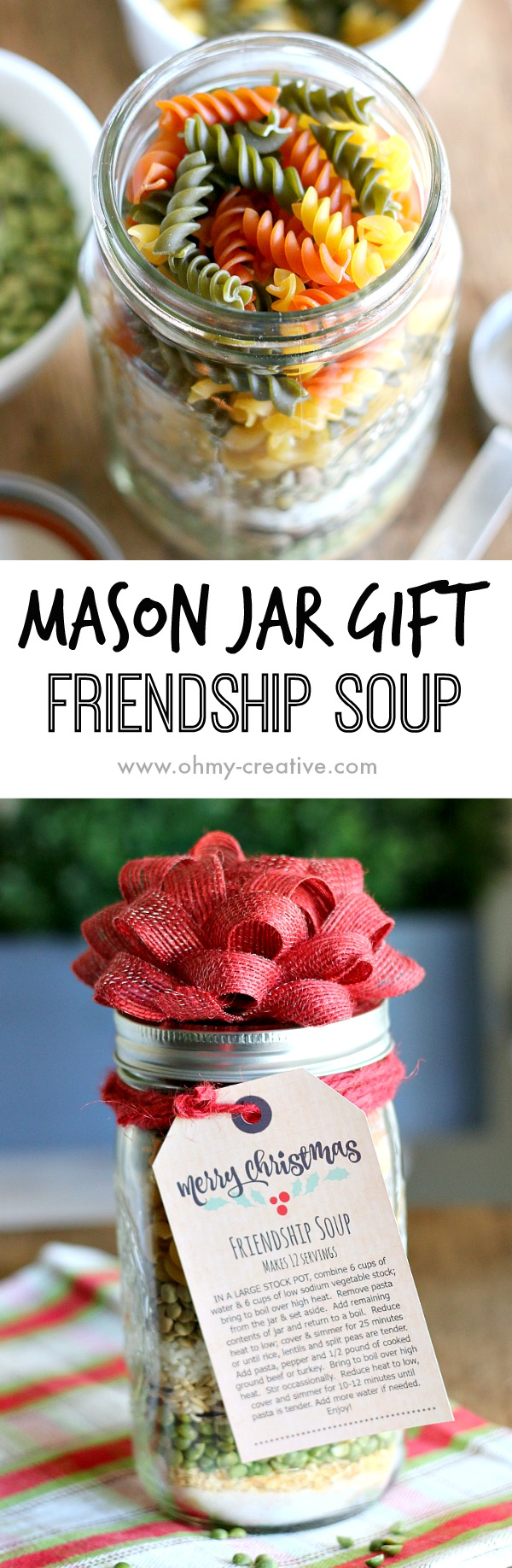Edible gifts create the perfect personal touch for gift giving during the holiday season. This Soup in a Jar Gift makes a great gift for friends, neighbors and co-workers! Its so easy to make soup in a jar recipes - a real time saver at the holidays. This mason jar recipe makes a tasty Christmas soup! | OHMY-CREATIVE.COM
