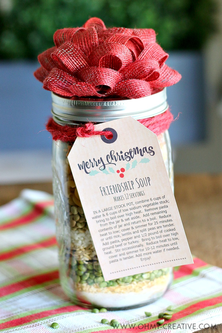 Christmas Gifts For Friends.Friendship Soup In A Jar Gift Oh My Creative