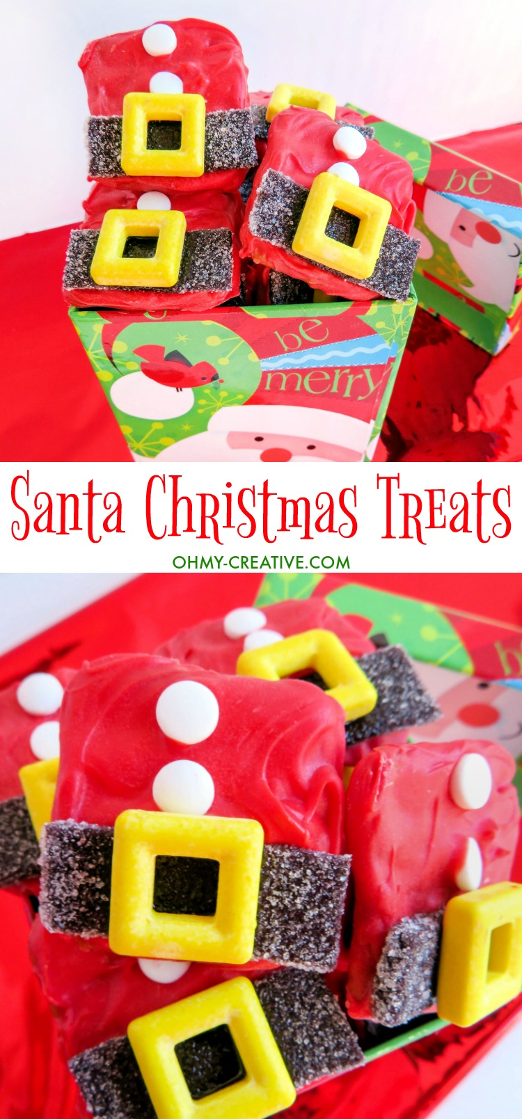 These Santa Suit Christmas Treats are perfect for holiday parties - tasty chocolate pretzel bites! | OHMY-CREATIVE.COM